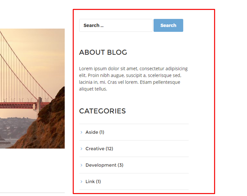 Blog Index page - sidebar right
