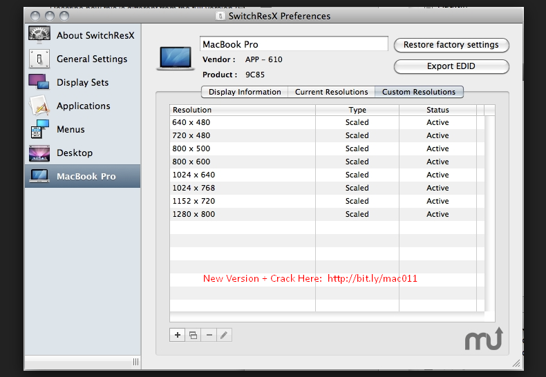 SwitchResX 4.6.4 Cracked Serial For Mac OS X Free Download