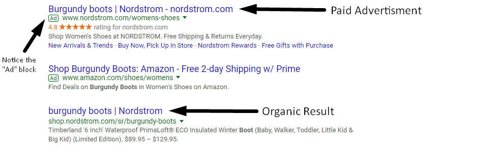 Organic result on Google